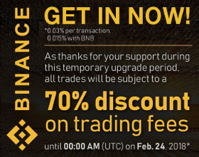 Limited time trading discount on Binance cryptocurrency exchange.